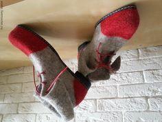Купить Ботинки демисезонные - серый, валяная обувь, демисезонная обувь, ботинки женские, шерсть 100%
