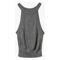 Gray Sleeveless Crop Knit Top featuring polyvore, women's fashion, clothing…