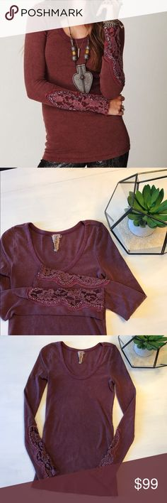 Free People Crafty Cuff Thermal Mulberry Small Free People Crafty Cuff thermal in the oh-so popular MULBERRY color! Thermal features Gorgeous lace cuffs with scoop neckline and straight edge bottom seam. IN EUC! No holes, rips, runs or piling! Only selling bc I need an XS! Free People Tops