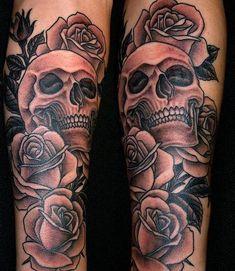 Tattoo de caveiras com flores - Fotos Tatuagem