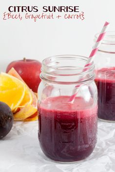 Red juice made from beets, grapefruit, and carrots has a wonderful balance of tart, sweet, and earthy flavor.
