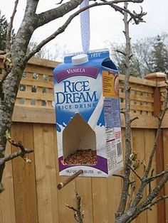 Make your own milk carton bird feeder.  SUPER easy and keeps materials out of the landfills!  From notimeforflashcards.com