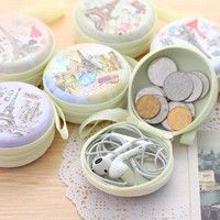 Lovely Cartoon Round Wallet Coin Case Purse Earphone Holder Bag Korea Fashion Product Description: M