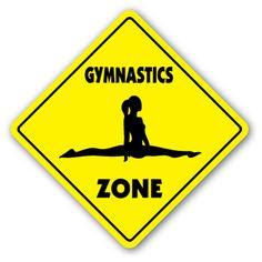 """Gymnastics Crossing Sign Zone Xing 12"""" Sport Gym Award Trophy Team Funny Gag Gym"""
