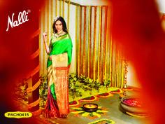 Code: PACH0415 - Kanchipuram Silk Saree, The price of this saree is Rs.17500 (approx)  To know more about this product contact our eshop team at eshop@nalli.com. Silk Sarees, Jewel, Sari, Fashion, Saree, Moda, Fashion Styles, Gem, Gemstones