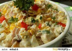 Hermelínový salát s Cottage, vejci a sušenými rajčaty recept - TopRecepty. What To Cook, 4 Ingredients, Bon Appetit, Cheeseburger Chowder, Ham, Salad Recipes, Potato Salad, Food And Drink, Low Carb