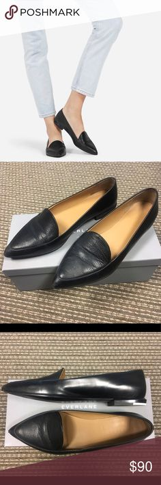 Everlane Modern Point Flats Smooth Italian leather, slim tapered toe, elegant and versatile!  Size 9 (runs narrow at the toe). Beautiful flats but too narrow for my feet. Everlane products are made ethically 💗 Everlane Shoes Flats & Loafers