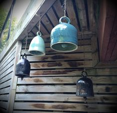 pottery bells hanging outdoors
