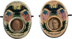 "A matched set of ""mechanicals""- badges that change portraits when the horizontal rod is pushed in or out. One represents the McKinley/Roosevelt campaign, while the other is for the Bryan and Stevenson."