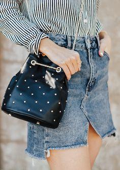 Black Studded Bucket Bag   LivvyLand