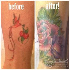 Cover Up Tattoo Before and After, Peony and Morning Glory Flowers #coverup #coveruptattoo #flowertattoos #girlytattoos #carribbeanconnection #peonytattoo #morningglory