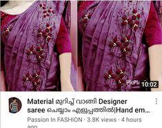 Saree Embroidery Design, Hand Embroidery, Georgette Sarees, Designer Sarees, Sari, Fashion, Saree, Moda, Fashion Styles