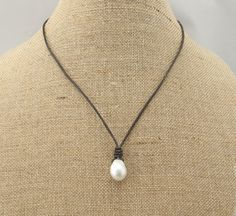 ETS-S138 leather pearl necklace cordpearl and by PearlJewellery