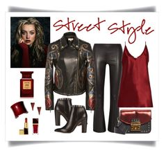 """""""Elie Saab Studded Leather Jacket Look"""" by romaboots-1 ❤ liked on Polyvore featuring The Row, Elie Saab, Valentino, Furla, Raey, UNEARTHED, Kendra Scott and Tom Ford"""