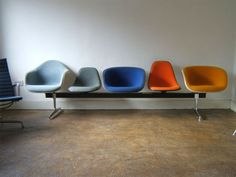 Eames tandem seating - using choice to reinforce a feeling a humanity and individuality and to help balance out the relationship and give some control to the user. Design Furniture, Find Furniture, Home Furniture, Mid Century Modern Furniture, Midcentury Modern, Refurbished Furniture, Take A Seat, Mid Century Design, Interiores Design