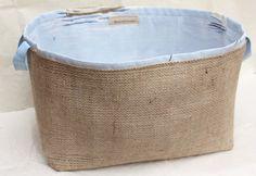 Hessian Burlap and Sailing Boats Blue Cotton Storage Basket Bucket, Eco Storage - UK - Bathroom, Nursery, Plant Pot Holder, Tidy, Organiser