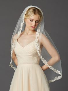 Affordable Elegance Bridal - Ivory Fingertip Wedding Veil with Rum Pink Embroidered Lace, $119.99 (http://www.affordableelegancebridal.com/ivory-fingertip-wedding-veil-with-rum-pink-embroidered-lace/)