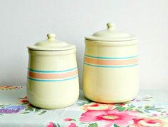 Vintage McCoy Kitchen Canisters Set. 1970s. Pink & by retrogroovie