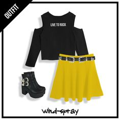 ⚡⚡ #LiveToRock #AW17 ⚡⚡ 🔥🔥🔥 #OUTFIT #TENDENCIA #FridayLook  - Remera Roller Black - Falda Gajos Olivia Yellow #ComingSoon - Cinto Texano - Botas Texanas  💣💣💣