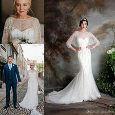 Great Gatsby Vintage Luxury Country Wedding Dresses 2017 Modest Jenny Packham Short Sleeve Beaded Mermaid Bridal Gowns Eliza Jane Howell Wedding Gowns Wedding Dresses White Mermaid Wedding Dresses From Gaogao8899, $180.91| Dhgate.Com