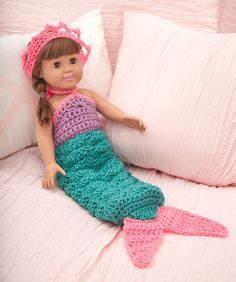 """Mermaid 18"""" Doll Outfit see matching blanket in my afghans pins. More"""