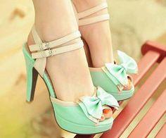 Peep toe heels // mint + nude