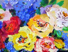 Still Life Painting Roses and Lilacs 14 x 18 by ElainesHeartsong