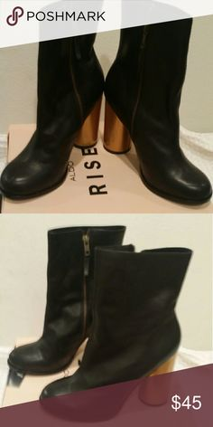 Aldo (Saya) Women's Mid Boot Black and gold heel Aldo Mid Boot. Worn once.  Perfect for work or an evening out. Aldo Shoes Heeled Boots