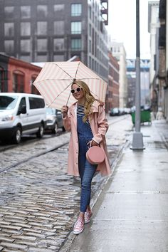 Denim overalls & pink converse sneakers // rainy day outfit ideas Blair Eadie Atlantic-Pacific