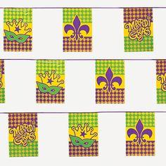 Mardi Gras Flag Pennant Banner - OrientalTrading.com  12x18x100' = 8.50