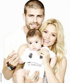 Happy family: Gerard Pique, Shakira and Milan