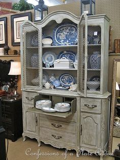 b and w painted hutch Repainting Furniture, Paint Furniture, Furniture Styles, Furniture Makeover, Furniture Design, Rehabbed Furniture, Furniture Ideas, Painted China Cabinets, Painted Hutch