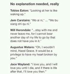 Tobias Eaton Jem Carstairs Will Herondale Augustus Waters Jace Wayland