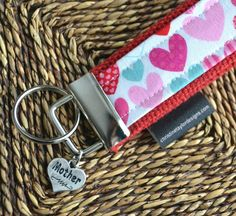 Key Fob with Mother charm  pink and red hearts by ctaylordesigns, $12.00