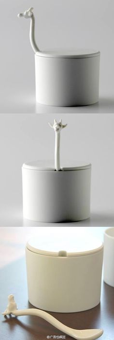 Giraffe sugar basin is an interesting kitchenware, giraffe's stomach is a sugar basin while the head and neck is a spoon. You can find it on gnr8.jp.
