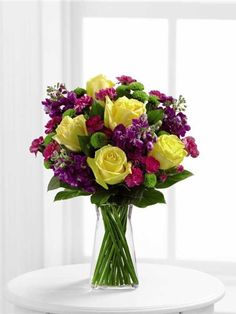13 best flower arrangements images on pinterest yellow roses yellow roses purple stock green button poms fuchsia mini carnations and lush greens mightylinksfo