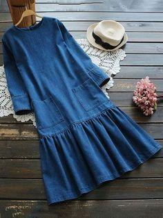 Casual O-neck Pockets Pleated Women Denim Dresses - Street Style Outfits Muslim Fashion, Boho Fashion, Fashion Dresses, Fashion 2017, Trendy Fashion, Fashion Ideas, Street Style Outfits, Mode Outfits, Casual Dresses