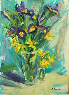 """Irises and Daffodils"" oil on canvas 50x70cm"