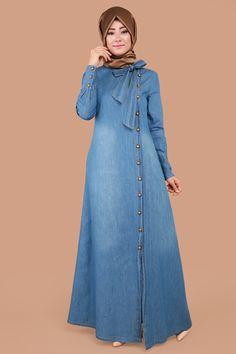 Yandan Düğmeli Fularlı Kot Elbise MSW8140-S Açık Kot