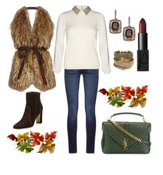 """Fall Coffee Date"" by arta13 ❤ liked on Polyvore featuring Stella Jean, Lord & Taylor, DL1961 Premium Denim, Alice + Olivia, Manolo Blahnik, Hipanema, Yves Saint Laurent and NARS Cosmetics"