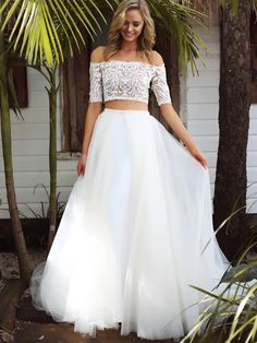 Mermaid Two-Piece Off Shoulder Half Sleeves White Tulle