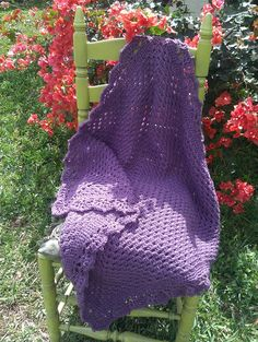 PURPLE - Toddler / Baby Granny Square Blanket / Afghan with Crochet Lace Edging. $31.00, via Etsy.