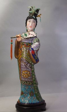 VNT.CLOISONNE FIGURINE LARGE 11''  CHINESE LADY GEISHA STATUE WITH BIRD AND FAN