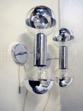 Chrome and glass WALL LAMPS by Motoko Ishii for Staff, Germany 1970s