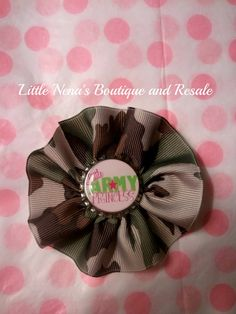 camouflage hair bow with a Little Army Princess center by KaySki2, $4.00