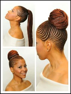 Ghana braids styled in to ponytail (braided updo with photos ) Box Braids Hairstyles, My Hairstyle, African Hairstyles, Girl Hairstyles, Hairstyles 2018, Plats Hairstyles, Cornrow Ponytail, Braided Updo, Braided Ponytail Black Hair