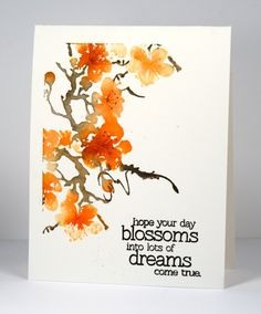 delicate blossoms: PB, distress ink and distress stain on stamp, branch details w/ black marker, spritzed. tiny stamen details with a marker  Heather Telford