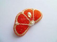 Купить Брошь 003 - оранжевый, яркая брошь, летняя брошь, брошь апельсин, брошь…