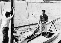 Jack and Teddy Kennedy, preparing their Wianno Senior for a sail.