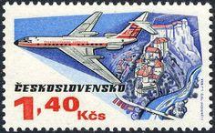 Sello: Tupolev 134 (Checoslovaquia) (50 Years Of Aviation) Mi:CS 2168,Sn:CS C79,Yt:CS 2013,AFA:CS 2012,POF:CS L76